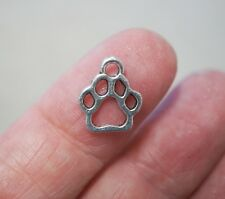 20 Dog Cat Animal Paw Print Charms, Small Paw Charms, 13mm - Antique Silver