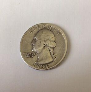 Pre WW11 United States Of America 1936 Silver Quarter Dollar