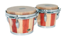 Mano Percussion MP714 Wooden Bongo Hand Drums Natural Hide Skins Bongos 7-8 Inch