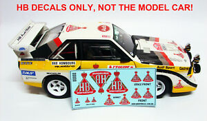 HB AUDI SPORT S1 QUATTRO 1986 RALLY DECALS FOR AUTOART 1:18 MODEL CARS. #2 & #6