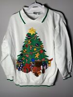 Vintage Womens Ugly Christmas Sweater Size Medium Teddy Bells Tree Candy Ribbons