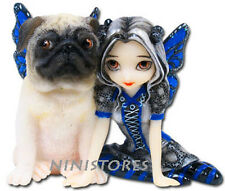 JASMINE BECKET GRIFFITH Fairy Figurine PUG DOG WINGED Fairie Figure Blue Angel
