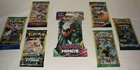 7 New Sealed Pokemon Packs  / Unweighed Unified Minds 10 Card & 3 Card Packs