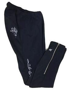 Novara Women's Size XS Black Microfleece Lined Nylon Ankle Zip Cycling Pants