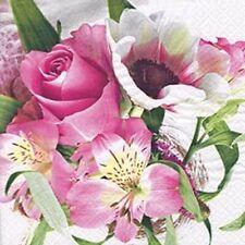 Serviettes 20 Morceaux, Roses, Lis et Anémones dans Bouquet de Fleurs 33x33 CM