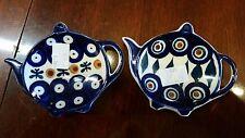 2 Tea Bag Holder Boleslawiec Pottery Teapot Kettle Shaped Cobalt New Stickers