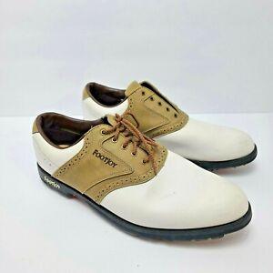 Footjoy Greenjoys 45446 Golf Shoes US Men's Size 12 M White & Tan Oxford