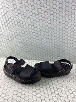 Dr. Martens VOSS Black Leather Ankle Strap Platform Buckle Sandals Womens Size 7