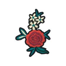 Single Rose Daisy Leaves Flower (Iron On) Embroidery Applique Patch