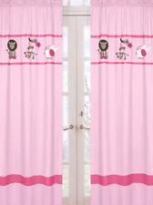 Sweet Jojo Pink Jungle Friends Girl Kid Window Treatment Panels Curtain Covering