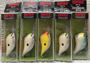 "(5) Rapala DT-6 Dives To 6' 3/8oz 2"" CrankBaits Good Colors WED"