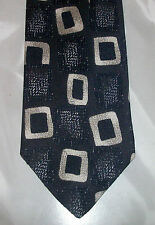 Buckingham Tie Geometric Rectangle Shape Black Navy Blue White NIB t168