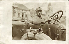 WWI ERA, AUSTRO-HUNGARIAN SOLDIER POSES IN THE CAR  cir.1915 REAL PHOTO POSTCARD