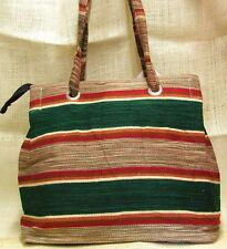 Purse or Tote Bag Ladies Southwest Mexican Style Vintage Style Serape XL Green
