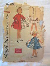"Simplicity 1936 Vtg 1950's Girls  Dress and Coat  SZ 1 Chest 20"""