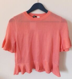 H&M  Woman Pink Top Viscose Blend & Glittery Threads W/ Short Sleeves Size S