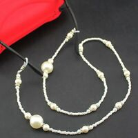 White Crystal Pearl Beaded Glasses Chain Eyeglass Wire Holder Strap Lanyard Cord