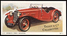 A C Sports Two-Seater #3 Motor Cars, Taddy & Co Cigarettes Card (C144)