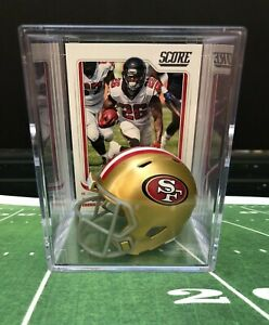 San Francisco 49ers Tevin Coleman Mini Helmet Shadowbox w/ card Keepsake Gift