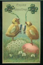 EASTER GREETINGS Chicks Clovers Goblets Decorated Eggs Vintage 1907Postcard