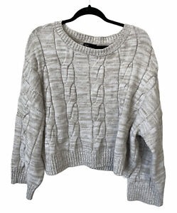 Express Cropped Sweater Pullover Knit Top Tan Oversized Women's Size Medium
