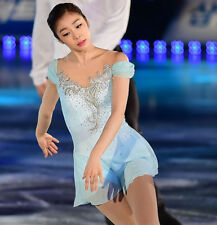 Girl Competition Figure skating Dress Ice Skating Dress Costume Sparkle BlueY084