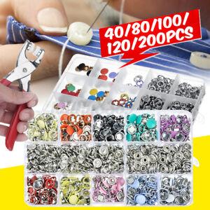 200Pcs Metal nap Kit +Plier Tool Plastic Snaps Fastener Button Press Stud Sets