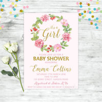 PERSONALISED BABY SHOWER INVITATION FLORAL INVITE PINK GOLD GIRL BOHO CHIC