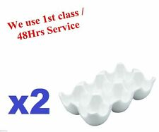 2x Egg Holder Tray Holds 6 Eggs Made Of Quality White Ceramic Vinci Porcelain
