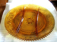 "Tiara Indiana Glass Amber Sandwich  3 Part Relish ServingTray Dish 12"" Diameter"