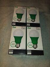 Lot of (4)  Utilitech LED 3-Watt Green Light Bulb