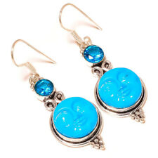 Carved Moon Face with Blue Topaz Gems silver plated Handmade Goddess Earrings