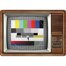Retro Tin Metal Postcard 'TV Wood Television' Mini Sign 10 x 14cm Vintage image