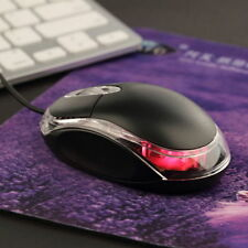 Black USB 3D Optical Light Scroll Wheel Wired Mouse For PC Laptop Computer