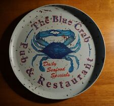 BLUE CRAB PUB & RESTAURANT Fishing Seafood Ocean Bar Round Decor Tray Sign NEW