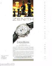PUBLICITE ADVERTISING 085  1995  ZENITH 2    la montre CHRONO MASTER