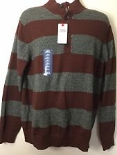 New Izod Mens Button Up Sweater,maroon & Grey, XL