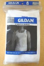 New Men's Gildan Ribbed Tank Undershirts - 3 pack - White - 2XL (50-52)