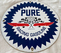VINTAGE NASCAR PURE RACING GASOLINE PORCELAIN SIGN GAS STATION PUMP MOTOR OIL