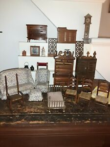 Shackman Dollhouse Furniture Wood Brass Chairs Bureaus Bed Orig Labels Sofa