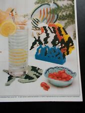 Tropical Fish Plastic Canvas Pattern ~ 1991 ~ Tropical Fish Coasters & Holder