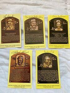 (5) signed Baseball Hall of Fame Plaque Postcards JSA Brock-Kiner-B Robinson-++