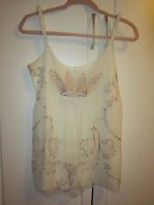 Nataya Age Of Love White & Gold Layered Embroidered Rope Strap Romantic Top Sm