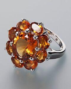 Ä5330 Designer Ring 925er Silber rhodiniert Madeira Citrin 6,46ct RW17