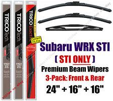 Wipers 3-Pack Premium Front and Rear fit 2013/2014 Subaru WRX STI 19240/160/16B