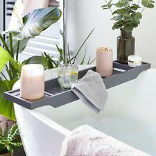 Grey Bamboo Wood Bath Tub Rack Bathroom Shelf Tidy Tray Storage Caddy Organiser