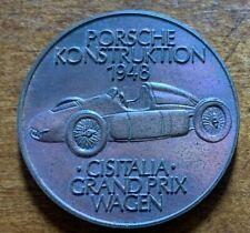 Rare Porsche Konstruktion 1948 Cisitalia Grand Prix Wagen 1972 Bronze Medal Coin