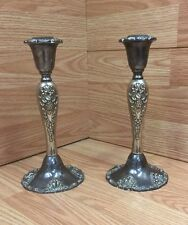 "PAIR of Vintage GODINGER 8"" SILVERPLATE ""CANDLESTICKS"" Ornate Baroque Grapes"