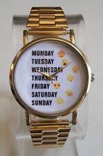 Men/Women Stretch Band Gold Finish Days Of Week Dial Fashion Dressy/Casual Watch
