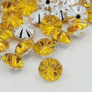 20 Gold/Yellow Acrylic Rhinestone Buttons Elegant Bestseller 0 1/2in Sew Craft